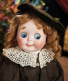 """Large German Bisque Googly, 221, by Kestner, Rare Size 12 --- Marks: H made in Germany 12 JDK 221. Comments: Kestner, circa 1912. Value Points: rare largest size of the captivating googly model."""", antique costume,"""