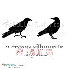 Crows Silhouette Vinyl Wall Decal 2 Crows Birds Wall by FabDecals