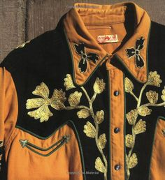 Closeup of men's vintage western shirt with embroidery. vintage western wear