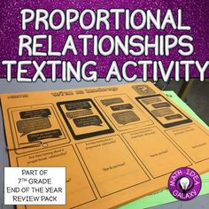 This activity will get students thinking about proportional relationships by having them relate the characteristics of proportional relationships to other things through texting.  They will read and analyze text message and write their own series of text messages that describe proportional relationships.