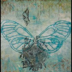 """""""Wings, Nest, & Chrysalis"""" by Chantel Greene, Encaustic with collaged drawing & transfer on birchwood panel #Art #Painting #Encaustic #MixedMedia"""