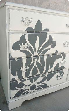 Stenciled dresser