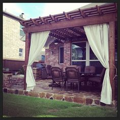 DiY Outdoor Curtains. Made from painter's drop cloth