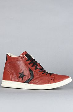 $165 #Converse The John Varvatos Pro Leather Mid #Sneaker in Barn Red Black - Use repcode SMARTCANUCKS for 10-20% off on #Karmaloop - http://www.lovekarmaloop.com