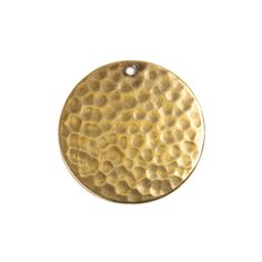Trinity Brass beads antique gold hammered circle charm