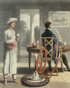 English employee of East India Company smoking a hookah. The English in India adopted some Indian customs, such as smoking a hookah.