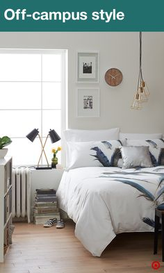 Welcome to apartment living—small-space living at its finest! Create a space you'll love with a cozy comforter, soft sheets and a few decorative pillows. Depending on the size of your room, extra storage may be key. A storage shelf is a great way to organize and hold your special mementos, pictures, and can even double as a dresser. Time to think about décor. Framed pictures and cool lamps can really make the space and add a nice finishing touch.