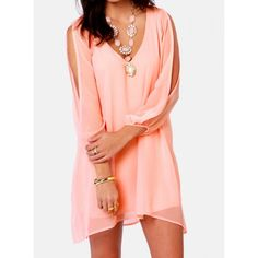 Sexy V-Neck Long Sleeve Solid Color Chiffon Dress For Women, PINK, XL in Chiffon Dresses | DressLily.com