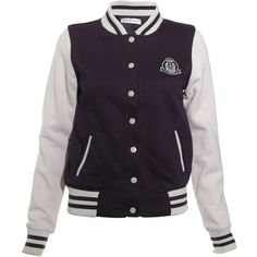 Rare London Baseball Jacket ($12) ❤ liked on Polyvore featuring outerwear, jackets, casacos, vestes, varsity jackets, black, baseball style bomber jacket, sports jacket, cotton bomber jacket and cotton varsity jacket