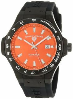 Swiss Legend Men's 40052-BB-06 Maverick Orange Dial Black Silicone Watch Swiss Legend. Save 93 Off!. $49.99. Swiss quartz movement. Date function at 3:00. Orange dial with silver tone hands and hour markers; luminous; tachymeter scale on black ion-plated stainless steel bezel; screw-down crown. Sapphitek crystal; black ion-plated stainless steel case; black silicone strap with logo. Water-resistant to 100 M (330 feet)