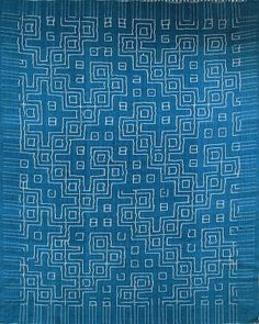 replica of a Pre-Columbian weaving, using cotton in warp and weft. I handdyed the ground warp and weft with indigo. The additional warp and weft are in thinner, undyed cotton. The intriguing part of the motive is that the same pattern shows at both sides. It was made on a six shaft loom, using selection rods to get the pattern.