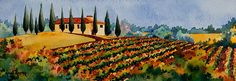 Autumn Vineyard is an Italian watercolor landscape painting by artist Heidi Rosner. The watercolor features an Italian hilltop vineyard, typical of the country.
