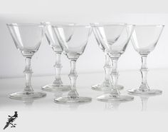 Mid Century Set of 6 Martini/Cocktail Glasses  by TheCordialMagpie, $34.00