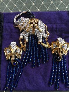 Elizabeth Taylor Elephant Walk Collection Avon Tassel Brooch Pin Earrings BEAUTY #Avon
