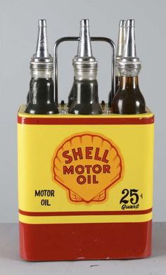 Shell Motor Oil - Six bottle oil bottle rack with stand Old Gas Pumps, Vintage Gas Pumps, Vintage Oil Cans, Vintage Tins, Vintage Stuff, Bottle Rack, Oil Bottle, Shell Oil Company, Pompe A Essence