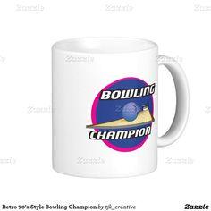 Retro 70's Style Bowling Champion Coffee Mug