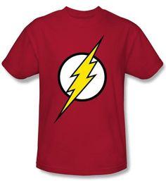 Justice League Kids Superheroes T-shirt - Flash Logo Red Tee Youth, Medium (10-12)