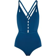Ephemera Crossed double-strap swimsuit featuring polyvore, women's fashion, clothing, swimwear, one-piece swimsuits, swimsuit, swim, bathing suits, bathingsuit, high-waisted bathing suits, deep v neck one piece swimsuits, swim suits, swim wear and high waisted bathing suits