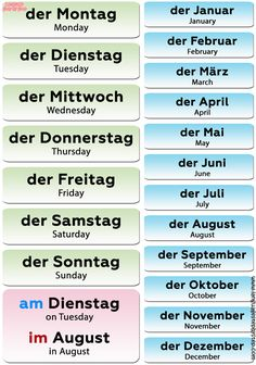 All months and days of week in German are masculine in gender. In German time expressions, the contraction IM (IN DEM) precedes the name of the. Study German, Learn German, German English, Learn French, Spanish English, German Grammar, German Words, Deutsch Language, Germany Language