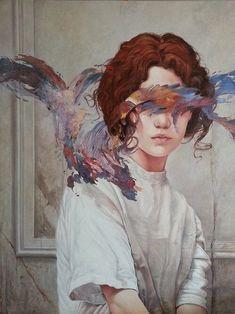 Illustration Art by Aykut Aydoğdu. Aykut Aydoğdu, Turkey is an artist born in. Portrait Paintings, Portrait Art, Art Paintings, Portraits, Art And Illustration, Surealism Art, Tableau Pop Art, Arte Van Gogh, Arte Obscura