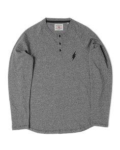 Blitz Henley Long Sleeve T-Shirt- Jersey Slub Cotton - Grey Marl - Garment Washed