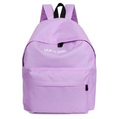 Preppy-Style I Am A Girl Quality Solid-Colored Canvas Backpack 5 Colors