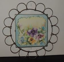"Vintage Pansy Trivet ""Tile"" in a Wire Plate Holder / Wire 3-Way"