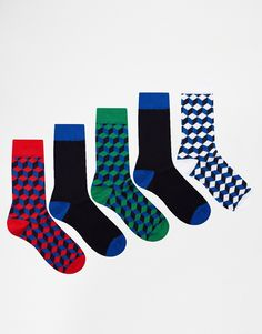 ASOS 5 Pack Socks With Geo Square Design