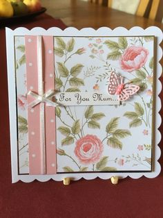 Created with The Paper Boutique Vintage Rose Garden papers. Birthday Cards For Women, Handmade Birthday Cards, Greeting Cards Handmade, Butterfly Cards, Flower Cards, Embossed Cards, Pretty Cards, Paper Cards, Creative Cards