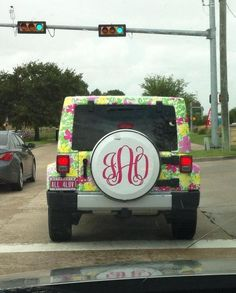 Lily jeep with monogrammed tire case