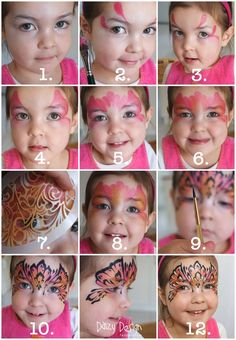 Daizy Design Face Painting - Princess Mask Step by step. I love Daizy's designs ... she is a wonderful face painting artist.