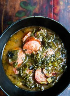 Green Gumbo, or Gumbo Z?Herbes _ is a traditional Louisiana gumbo that is based on loads of greens such as collards, kale, turnip greens Creole Recipes, Cajun Recipes, Soup Recipes, Cooking Recipes, Gumbo Recipes, Andoille Sausage Recipes, Creole Gumbo Recipe, Soul Food Recipes, Ham Hock Recipes