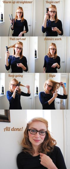 Curling with a straightening iron.