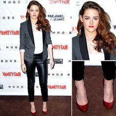 Kristen Stewart Wearing BCBG Tuxedo Blazer, H Leather Skinnies, and Christian Louboutin pumps