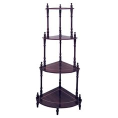 4 Tier corner stand Use as a corner end table or nightstand Wood construction Rich cherry finish #ORE #Traditional