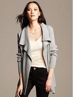 Merino Wool High-Low Open Cardigan