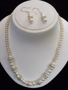Love Love Love Love Love this!!!Wedding Pearl Necklace Set Glass Pearls Swarovski by canalleart, $68.00
