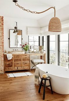 Rustic Natural Wood Bathroom - Scandinavian Interiors