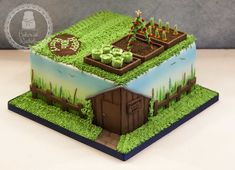 Four layers of rich chocolate cake with chocolate ganache filling. Airbrushed sky and green background around the sides, handpainted wildflower garden, handmade vegetable garden and finished of with Harry's Tool Shed and a neatly trimmed lawn :) Cakes To Make, Fancy Cakes, Fondant Cakes, Cupcake Cakes, Allotment Cake, Vegetable Garden Cake, Garden Birthday Cake, 80th Birthday, Chocolate Ganache Filling