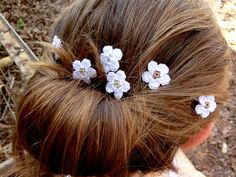 Little White Flowers Hair Pins Bridal Accessories Wedding Bobby Bridesmaid