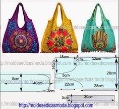 PASSO A PASSO MOLDE DE BOLSA Corte dois retângulos de tecido com a altura e largura que pretende para a bolsa. Desenhe desenhe o decote no meio do saco e p