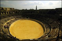 Arena of Nimes. They reenact Roman style gladiator games here every year.