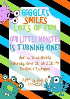 Birthday Invitation, Monsters Theme
