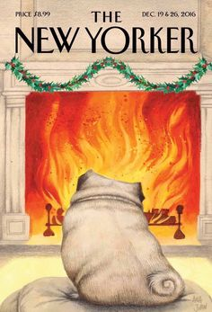 "Artwork by Ana Juan ""Yule Dog""New cover The New Yorker Art Editor: Françoise Mouly Editor: David Remnick 12 The New Yorker, New Yorker Covers, Dachshund Funny, Funny Pugs, Funny Puppies, Free Pug Puppies, Black Pug Puppies, Tableau Pop Art, Fu Dog"