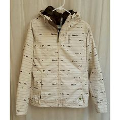 Burton unique snow/rain jacket - birds on a wire LIKE NEW!  This is such a cute coat for snowboarding, skiing, or just the rain! Jacket is off white with brown birds print and brown interior. Has a great hood with bungees, and sleeves and pockets with zippers. Also has interior pocket for safe keeping. Burton Jackets & Coats Utility Jackets