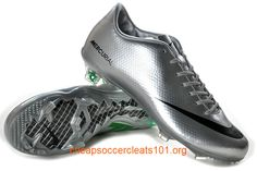 best cheap f1bbc 28256 Mercurial Glide III FG Silver Green Soccer Shoes Football Shoes