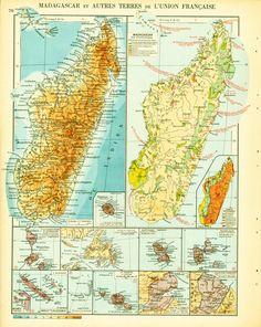 1950 Carte de Madagascar, ocean Indien, union française, Planche Originale Atlas Geographie Grand Format de la boutique sofrenchvintage sur Etsy