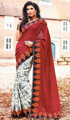 3e2bcec639 G3 fashions Maroon off white cotton designer sari Product Code:G3-LS16422  price INR