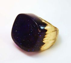 Resin and Wood Ring Cocktail Ring Midnight by jdonishdesigns