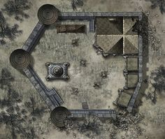 "Map of an abandoned / ruined keep. (""Haunted Keep"" by hero339)"